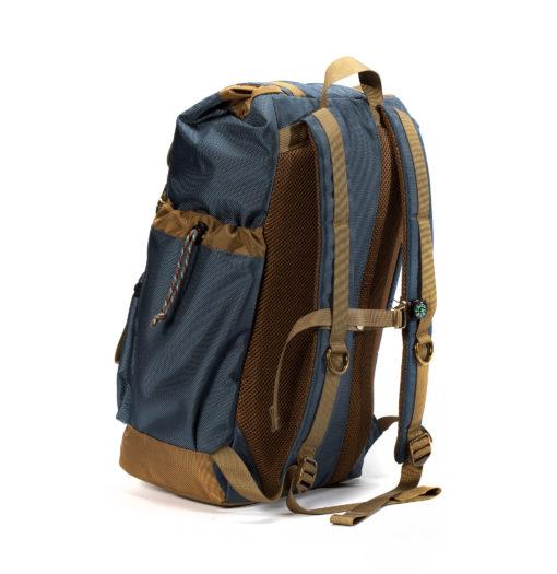 Gun Metal Blue and tan Getaway backpack