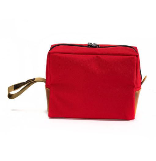 Red and Tan High Quality Toiletries Dopp Kit