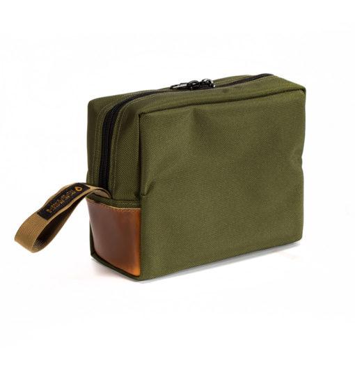 Dopp Kit Olive Green Ballistic Nylon Fabric